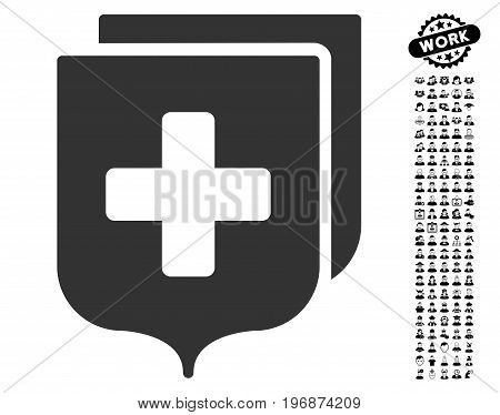 Medical Shields icon with black bonus work images. Medical Shields vector illustration style is a flat gray iconic symbol for web design, app user interfaces.