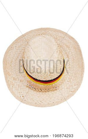 straw hat germany with german text for summer holidays, isolated on white
