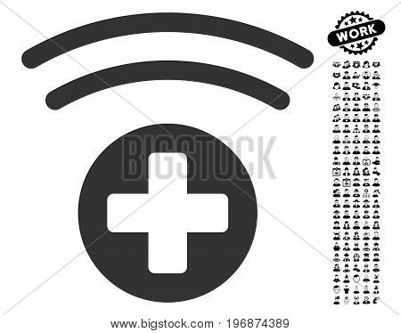 Medical Source icon with black bonus men design elements. Medical Source vector illustration style is a flat gray iconic symbol for web design, app user interfaces.
