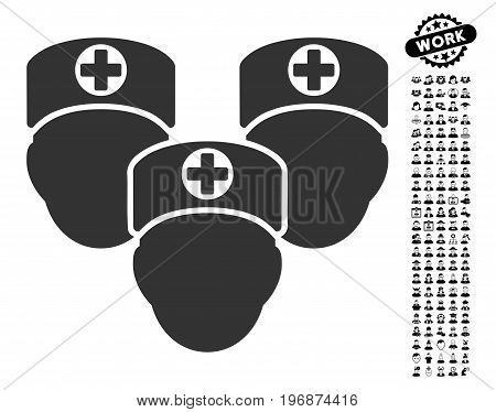 Medical Staff icon with black bonus job design elements. Medical Staff vector illustration style is a flat gray iconic element for web design, app user interfaces.