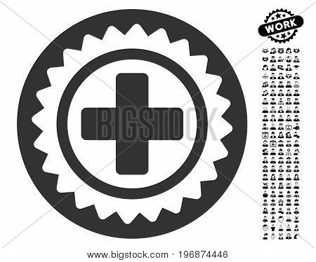 Medical Stamp icon with black bonus work images. Medical Stamp vector illustration style is a flat gray iconic symbol for web design, app user interfaces.