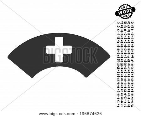 Medical Visor icon with black bonus people clip art. Medical Visor vector illustration style is a flat gray iconic element for web design, app user interfaces.