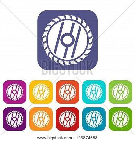 Circular saw blade icons set vector illustration in flat style in colors red, blue, green, and other