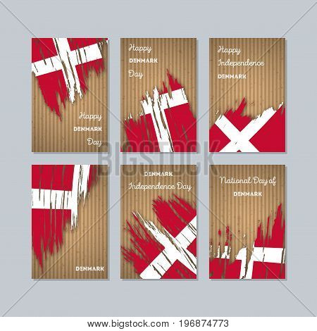 Denmark Patriotic Cards For National Day. Expressive Brush Stroke In National Flag Colors On Kraft P