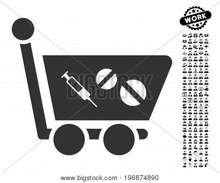 Medication Shopping Cart vector illustration style is a flat gray iconic symbol for web design, app user interfaces.