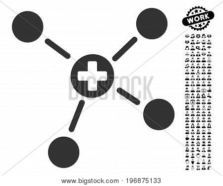 Medicine Links icon with black bonus people clip art. Medicine Links vector illustration style is a flat gray iconic symbol for web design, app user interfaces.
