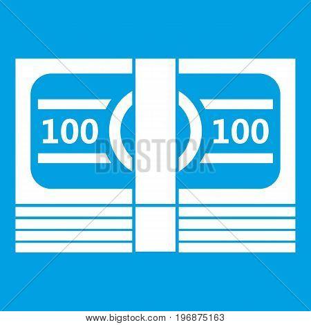 Bundle of money icon white isolated on blue background vector illustration