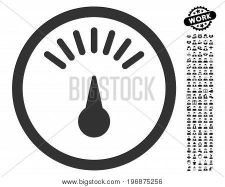 Meter icon with black bonus job pictograph collection. Meter vector illustration style is a flat gray iconic element for web design, app user interfaces.