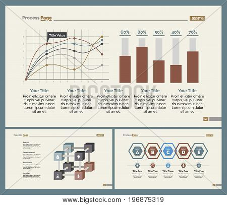 Infographic design set can be used for workflow layout, diagram, annual report, presentation, web design. Business and analyzing concept with process, line and bar charts.