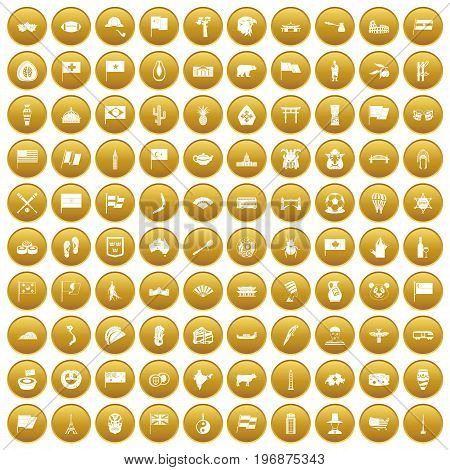 100 national flag icons set in gold circle isolated on white vector illustration