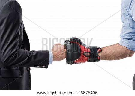 Partial View Of Businessman And Boxer Shaking Hands Isolated On White