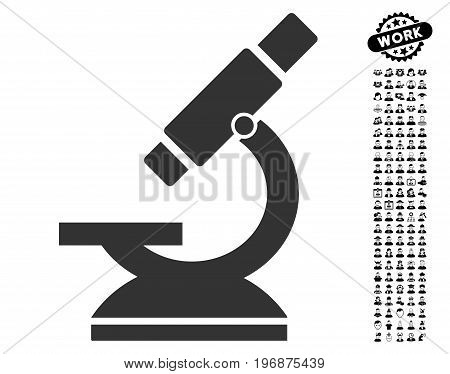 Microscope icon with black bonus work icon set. Microscope vector illustration style is a flat gray iconic symbol for web design, app user interfaces.