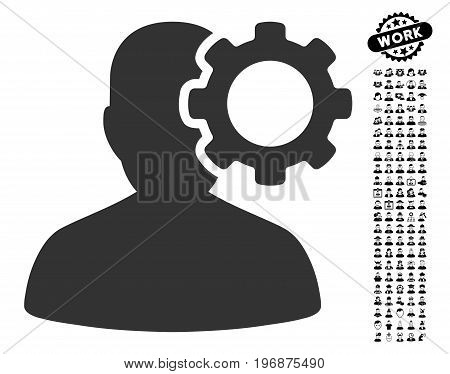 Migraine icon with black bonus profession clip art. Migraine vector illustration style is a flat gray iconic element for web design, app user interfaces.