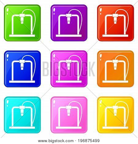3D printer frame icons of 9 color set isolated vector illustration