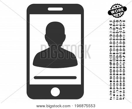 Mobile Contact icon with black bonus people symbols. Mobile Contact vector illustration style is a flat gray iconic element for web design, app user interfaces.