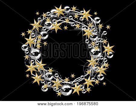 Christmas wreath with stars and glass balls