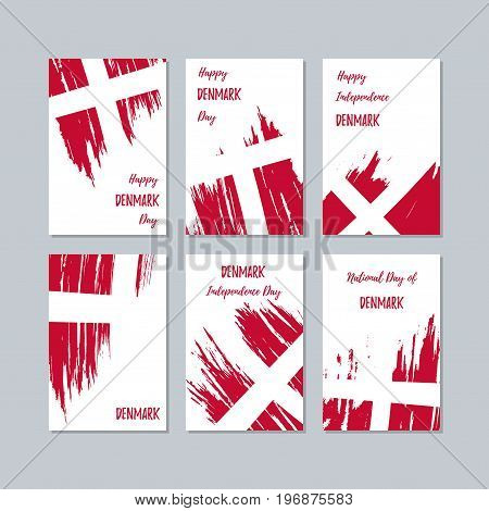 Denmark Patriotic Cards For National Day. Expressive Brush Stroke In National Flag Colors On White C