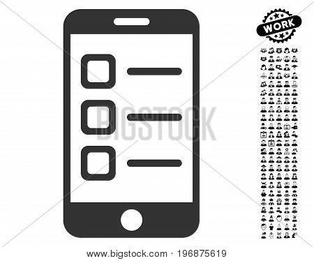 Mobile List icon with black bonus profession icon set. Mobile List vector illustration style is a flat gray iconic element for web design, app user interfaces.