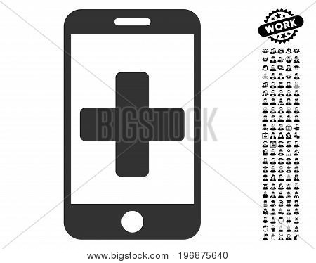 Mobile Medical Help icon with black bonus work clip art. Mobile Medical Help vector illustration style is a flat gray iconic element for web design, app user interfaces.