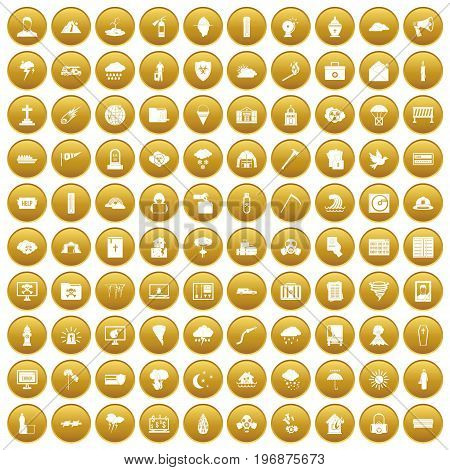 100 natural disasters icons set in gold circle isolated on white vector illustration