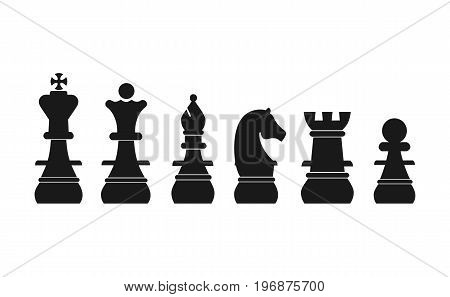 Chess pieces king queen bishop knight rook pawn flat vector icons set. Vector stock.