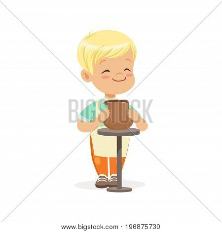 Cute little boy potter making ceramic pot, kids creativity, education and child development, colorful character vector Illustration isolated on a white background