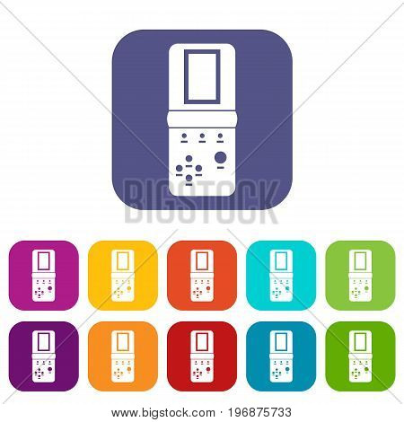 Tetris icons set vector illustration in flat style in colors red, blue, green, and other