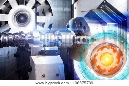 concept of abstract drawing gears and automated modern machine with numerical control CNC