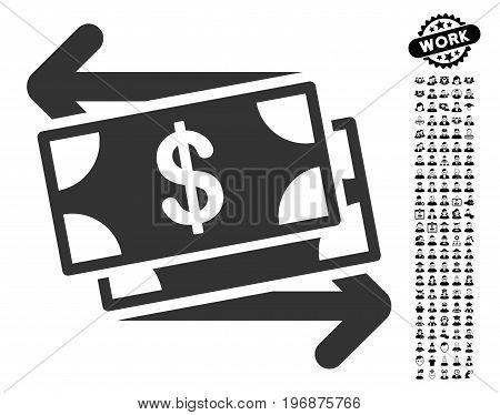 Money Exchange icon with black bonus professional icon set. Money Exchange vector illustration style is a flat gray iconic element for web design, app user interfaces.