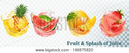 Set of fruit juice splash . Pineapple strawberry watermelon mango and guava. Vector