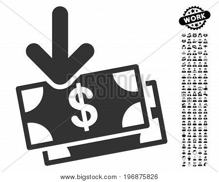 Money Income icon with black bonus men graphic icons. Money Income vector illustration style is a flat gray iconic element for web design, app user interfaces.