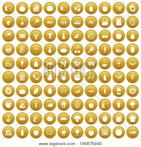 100 natural products icons set in gold circle isolated on white vector illustration
