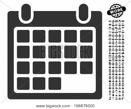 Month icon with black bonus work pictograms. Month vector illustration style is a flat gray iconic element for web design, app user interfaces.