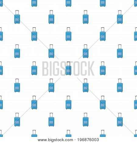 Blue travel suitcase pattern seamless repeat in cartoon style vector illustration