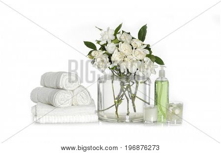 Spa setting with roller towel with spa set