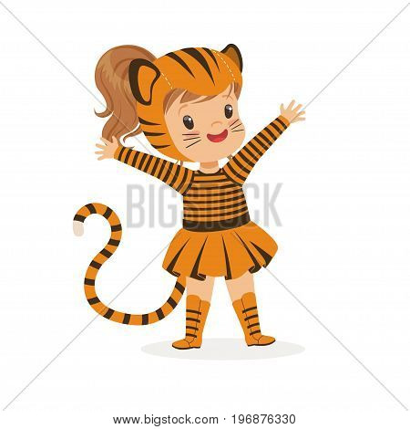 Cute happy little girl dressed as a tiger cub, kids carnival costume vector Illustration isolated on a white background