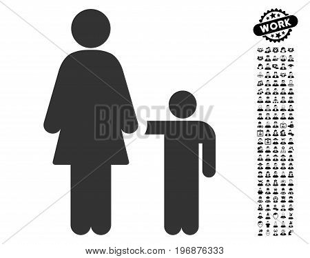Mother With Son icon with black bonus job clip art. Mother With Son vector illustration style is a flat gray iconic element for web design, app user interfaces.