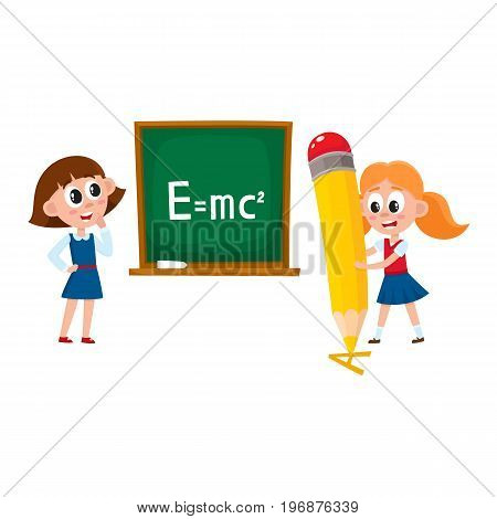 Schoolgirls, school girls - answering at physics lesson and writing with huge, giant pencil, cartoon vector illustration isolated on white background. School girls - standing at blackboard and writing