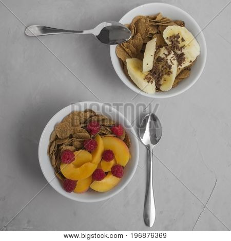Vegetarian meal. Corn flakes with fresh fruits and berries