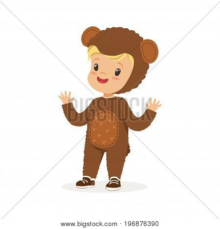 Cute happy boy dressed as a bear, kids carnival costume vector Illustration isolated on a white background