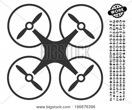Nanocopter icon with black bonus job images. Nanocopter vector illustration style is a flat gray iconic symbol for web design, app user interfaces.