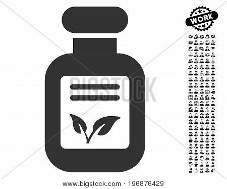 Natural Drugs icon with black bonus men design elements. Natural Drugs vector illustration style is a flat gray iconic element for web design, app user interfaces.