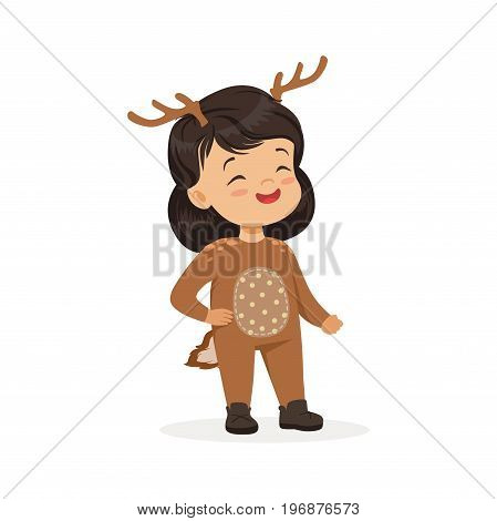 Cute happy little girl dressed as a deer, kids carnival costume, vector Illustration isolated on a white background