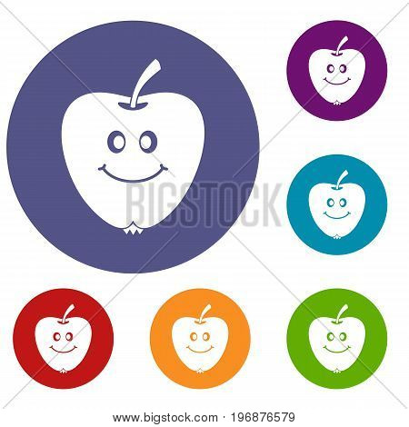 Smiling apple icons set in flat circle red, blue and green color for web