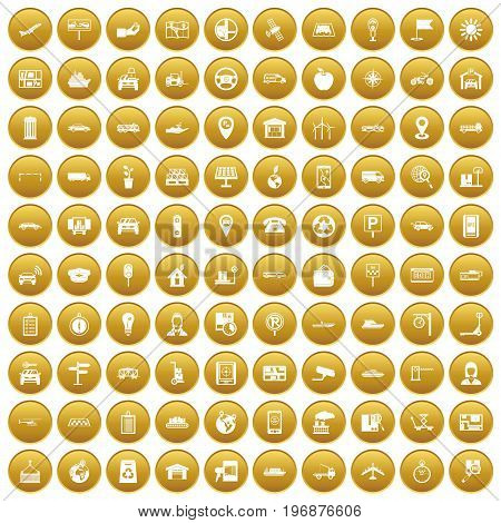 100 navigation icons set in gold circle isolated on white vector illustration