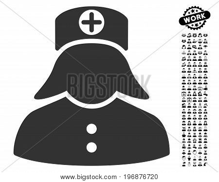 Nurse icon with black bonus work pictures. Nurse vector illustration style is a flat gray iconic symbol for web design, app user interfaces.