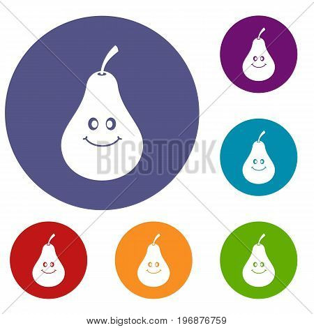 Smiling pear icons set in flat circle red, blue and green color for web
