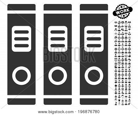 Office Books icon with black bonus men pictograph collection. Office Books vector illustration style is a flat gray iconic symbol for web design, app user interfaces.