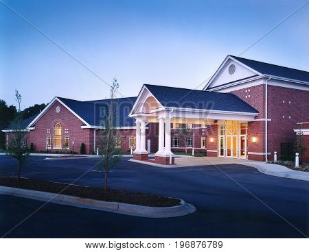 Brick Country Club brick Office Recreational Building Exterior  with Portico entrance