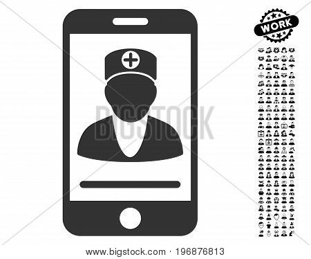 Online Doctor icon with black bonus job graphic icons. Online Doctor vector illustration style is a flat gray iconic element for web design, app user interfaces.